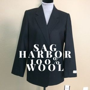 NWT Sag Harbor Black, 100% Wool Blazer